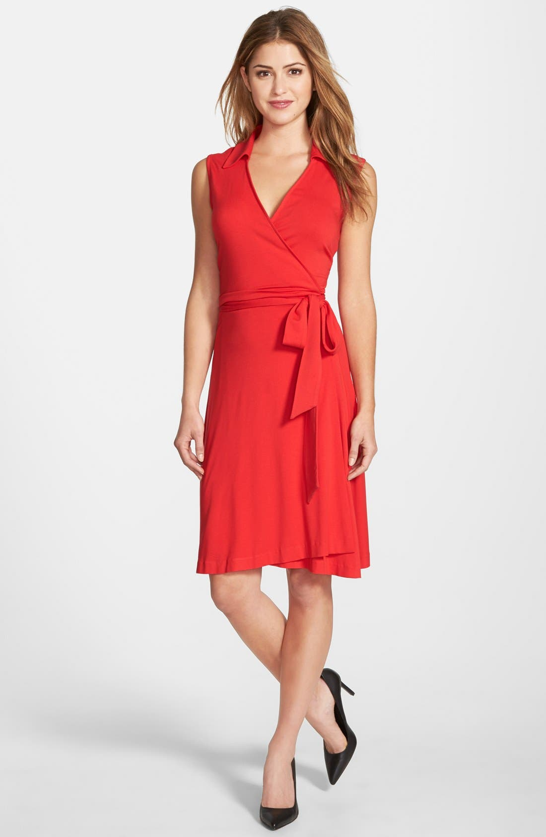 Alternate Image 1 Selected - Vince Camuto Sleeveless Wrap Jersey Dress (Regular & Petite) (Nordstrom Exclusive)