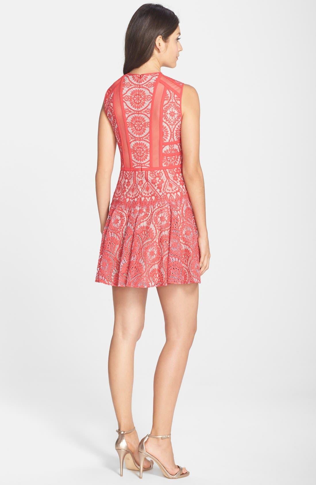 Alternate Image 2  - BCBGMAXAZRIA 'Shira' Knit Lace Fit & Flare Dress