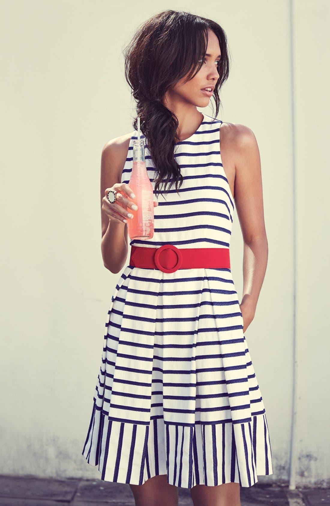 Alternate Image 5  - Eliza J Belted Stripe Fit & Flare Dress (Regular & Petite)