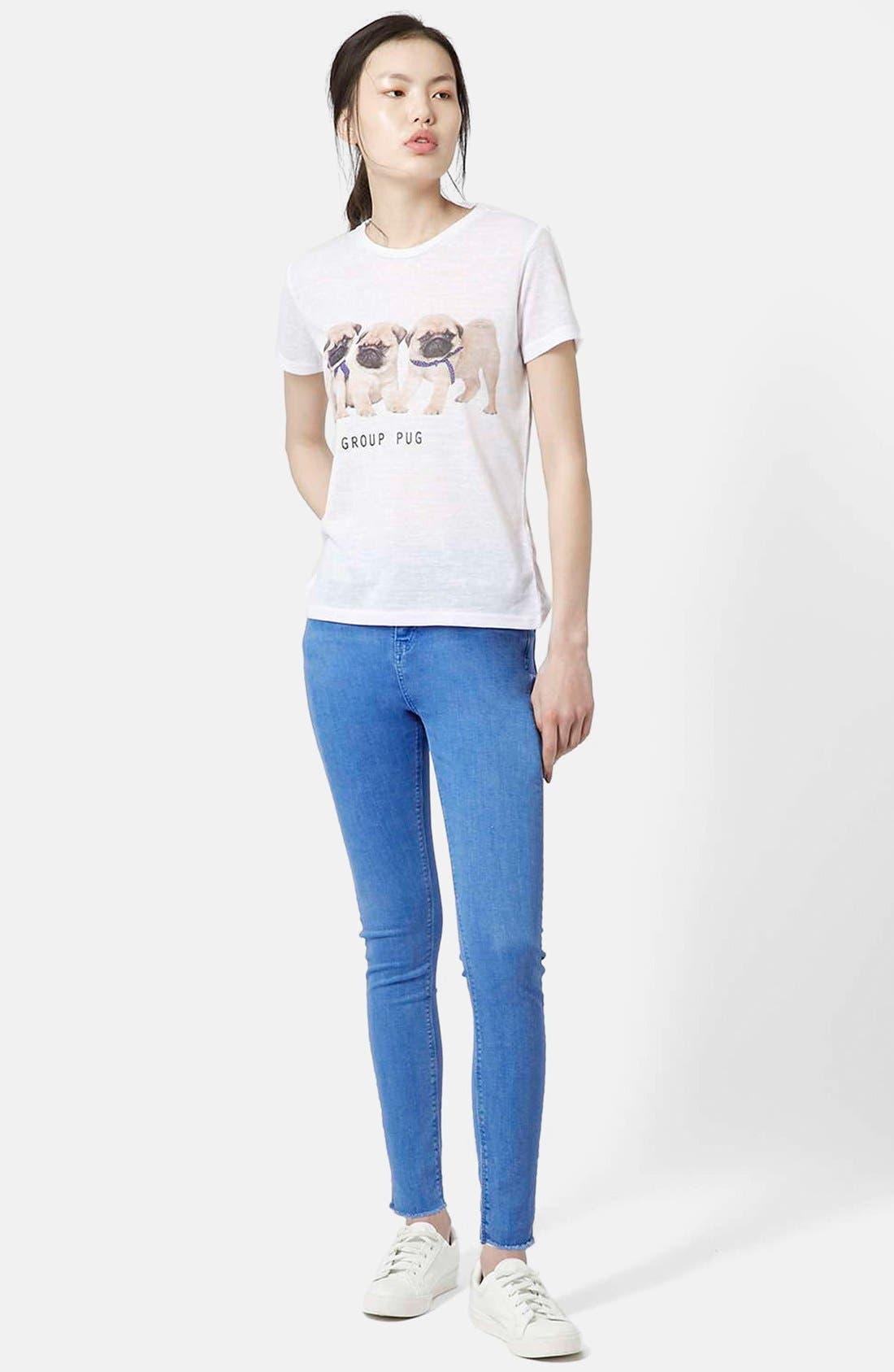 Alternate Image 5  - Topshop Moto 'Jamie' High Waist Skinny Jeans (Blue) (Short)