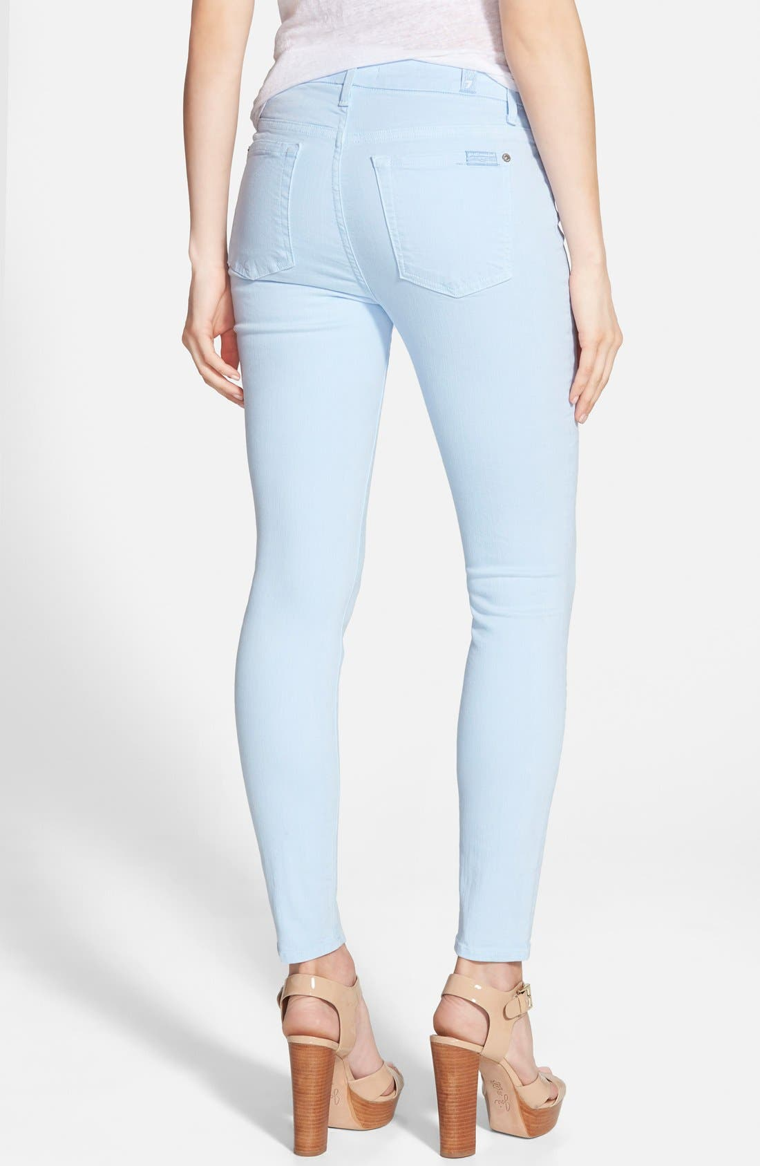 Alternate Image 2  - 7 For All Mankind® High Rise Ankle Skinny Jeans (Cool Water Blue)