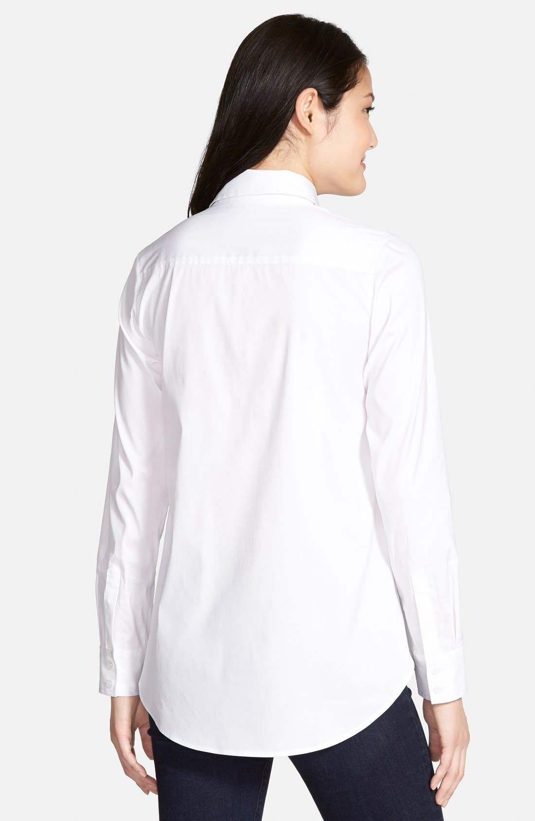 Alternate Image 2  - Halogen® Crisp Stretch Poplin Shirt (Regular & Petite)