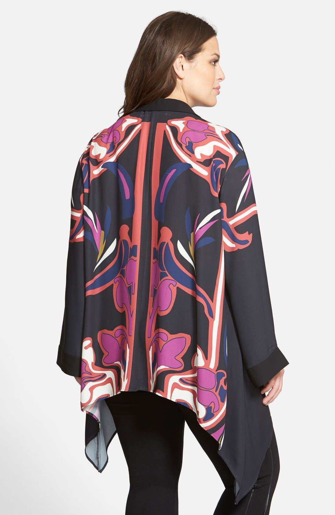 Alternate Image 2  - Sejour Shark Bite Hem Kimono Top (Plus Size)