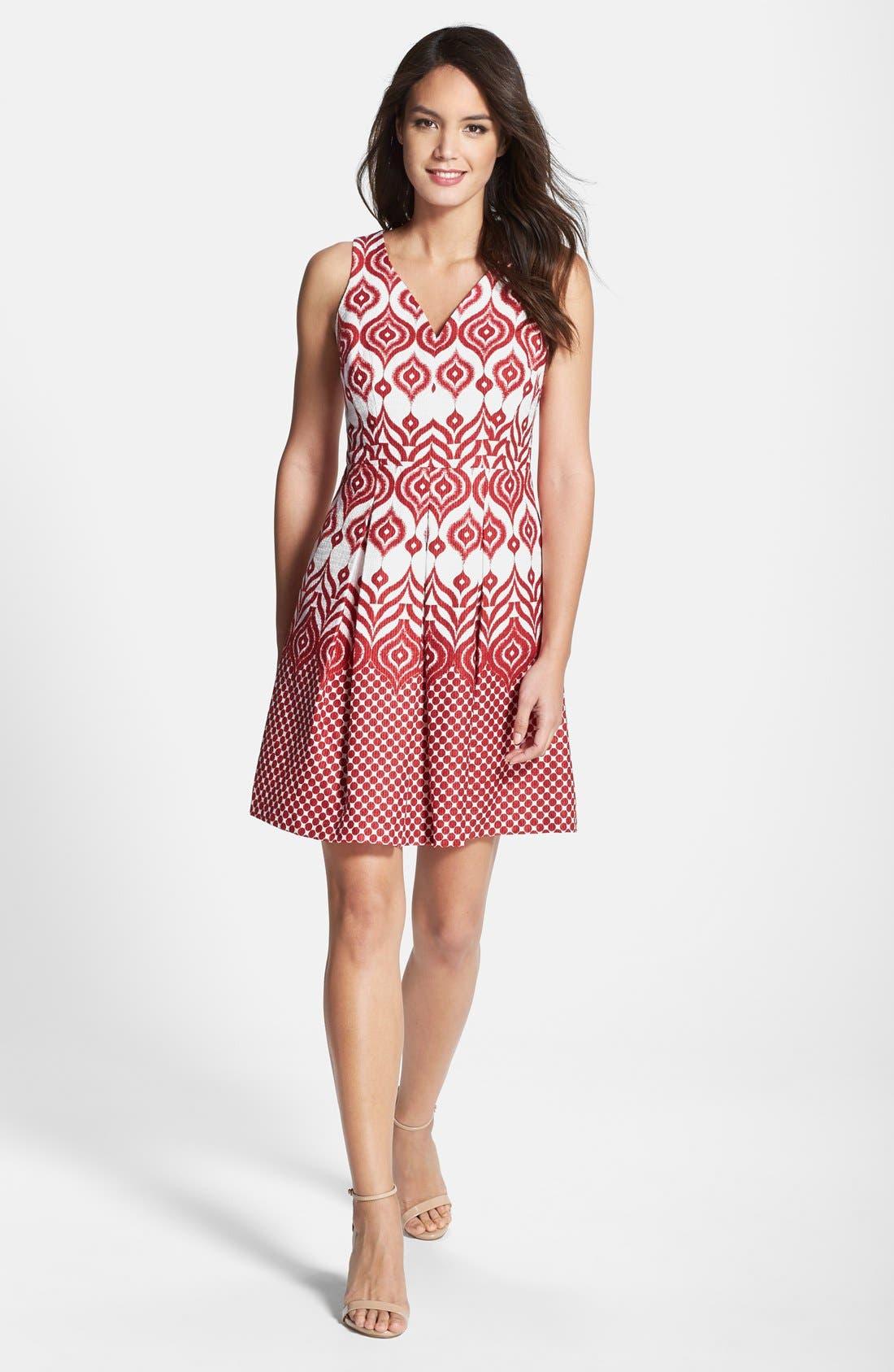Alternate Image 3  - Taylor Dresses Cotton Jacquard Fit & Flare Dress