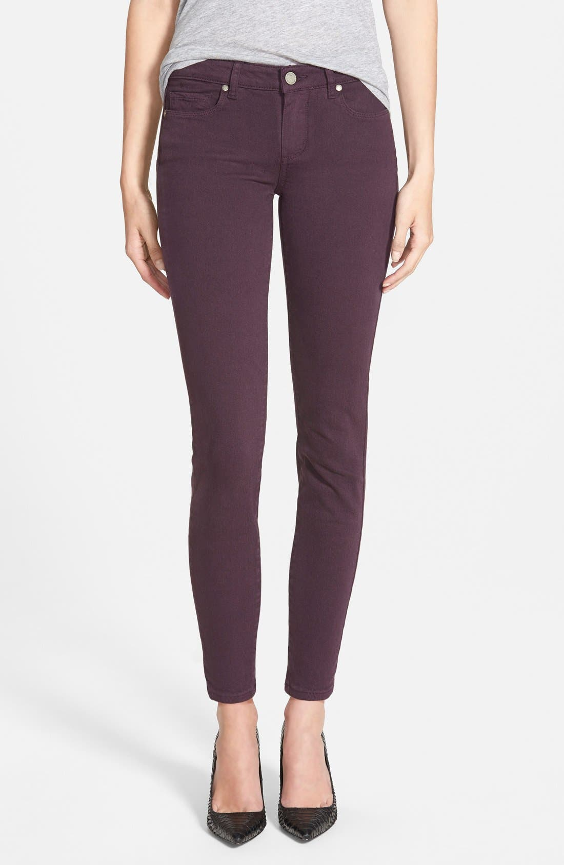 Main Image - Paige Denim 'Verdugo' Ankle Skinny Jeans (Autumn Plum) (Nordstrom Exclusive)
