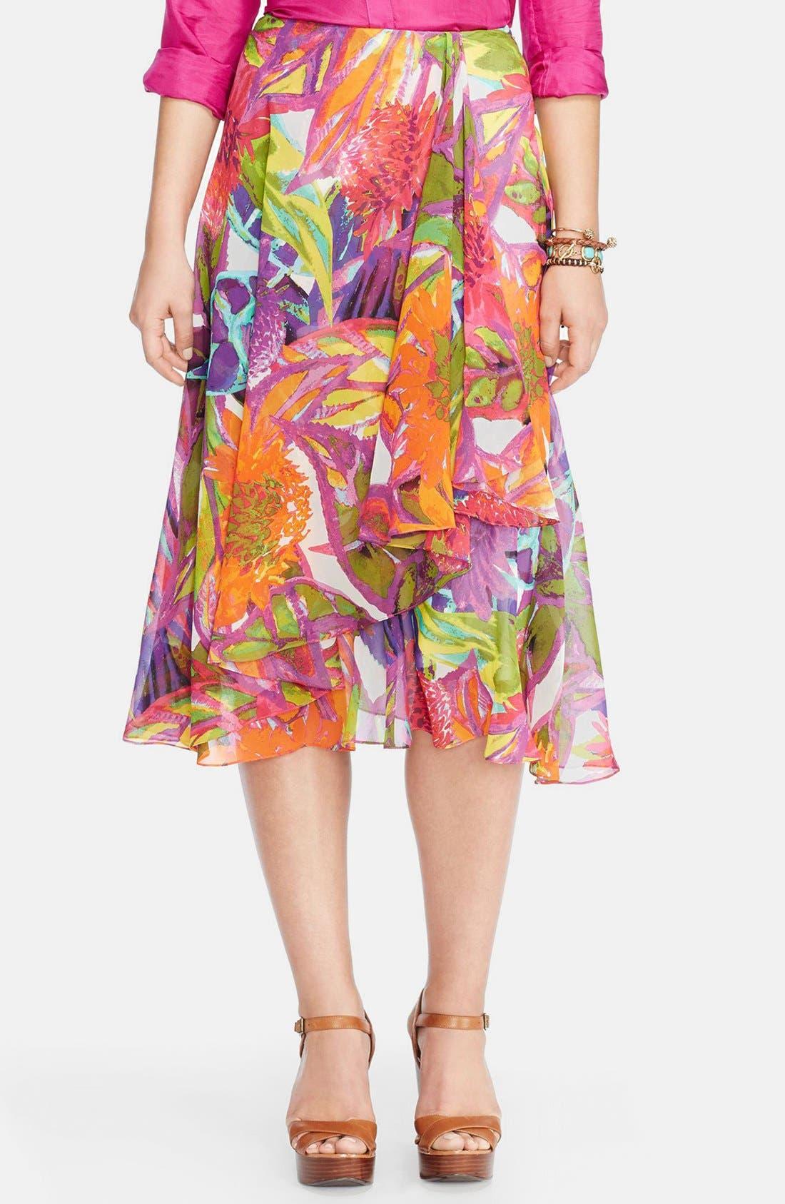 Alternate Image 1 Selected - Lauren Ralph Lauren Ruffled Floral Faux Wrap Skirt