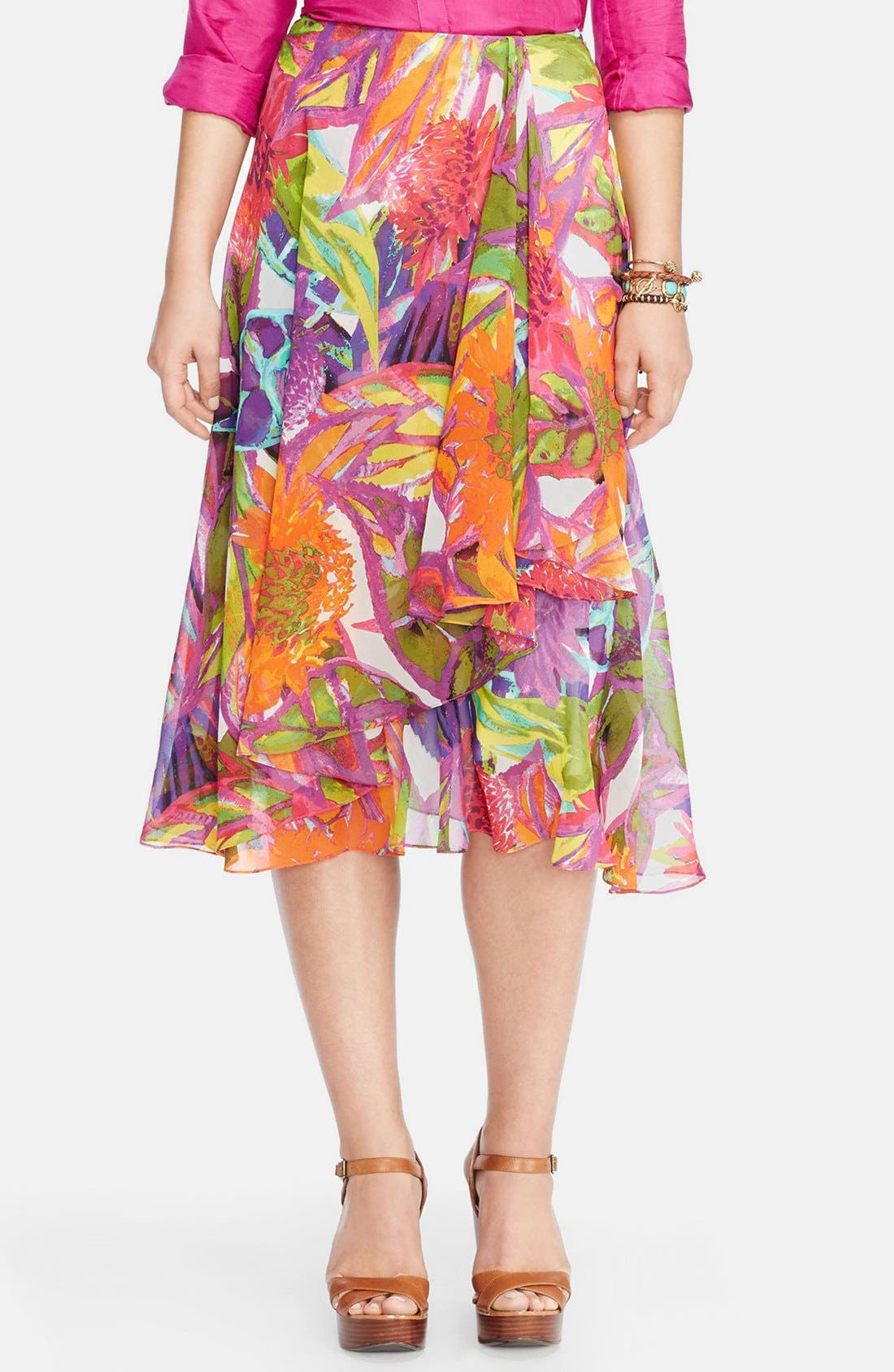 Main Image - Lauren Ralph Lauren Ruffled Floral Faux Wrap Skirt