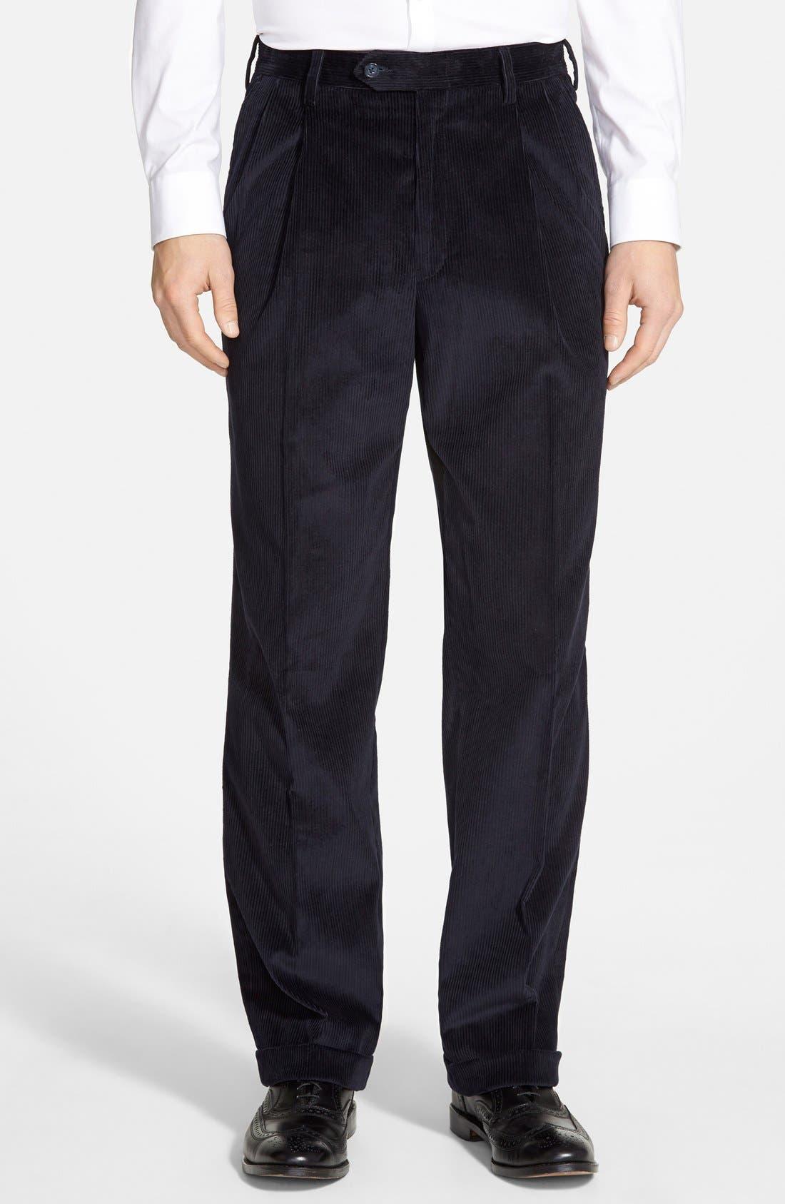 Berle Pleated Corduroy Trousers