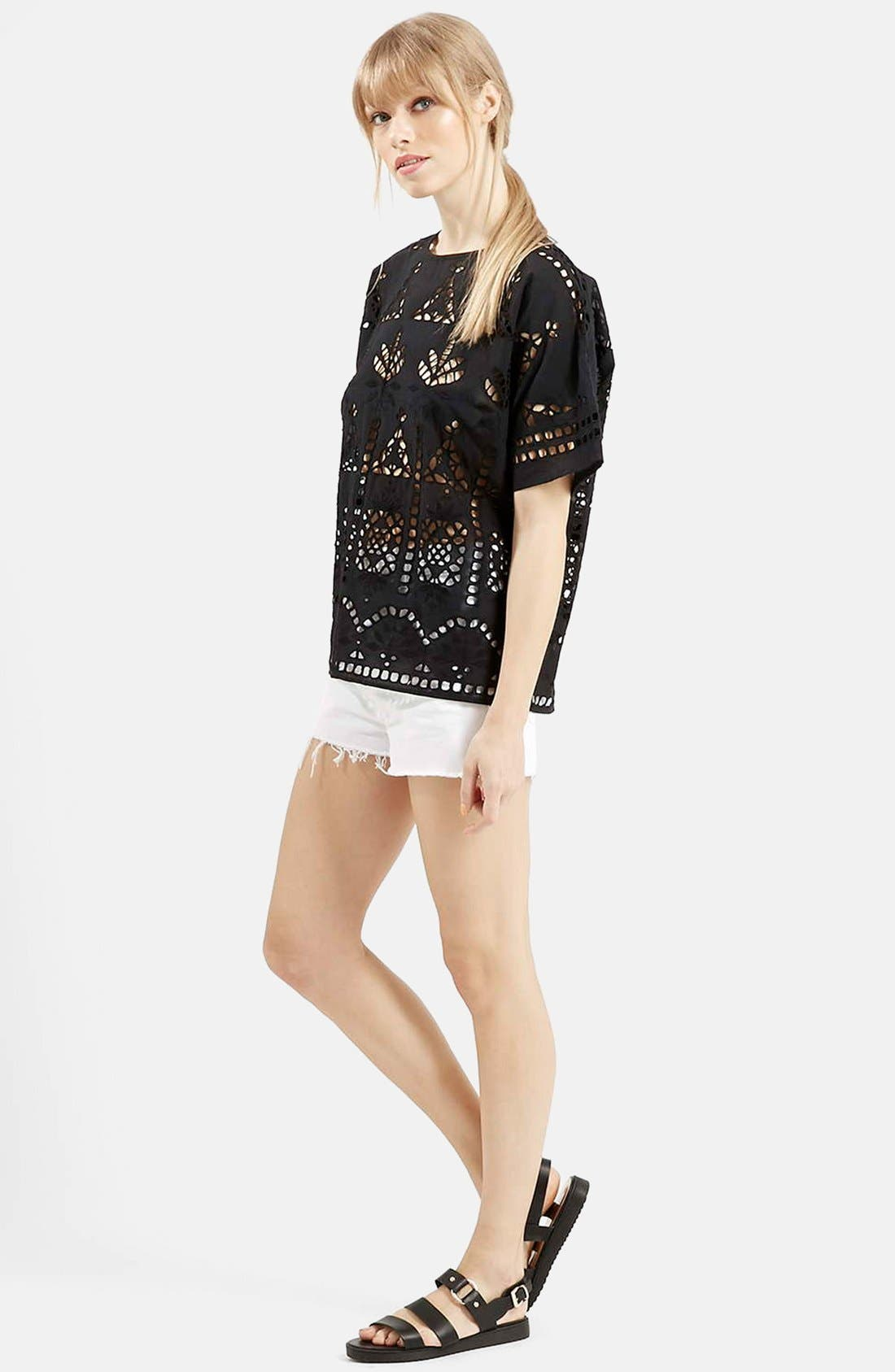 Main Image - Topshop Embroidered Cutout Tee