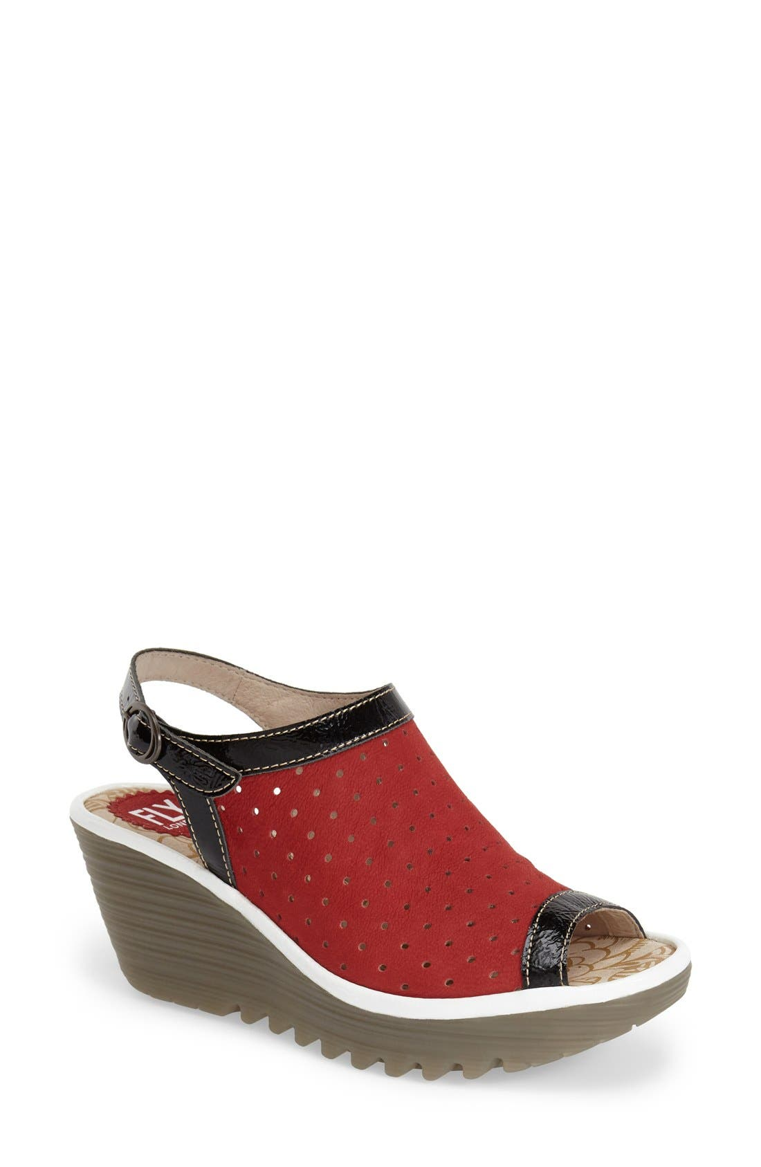 FLY LONDON 'Yile' Perforated Slingback Wedge