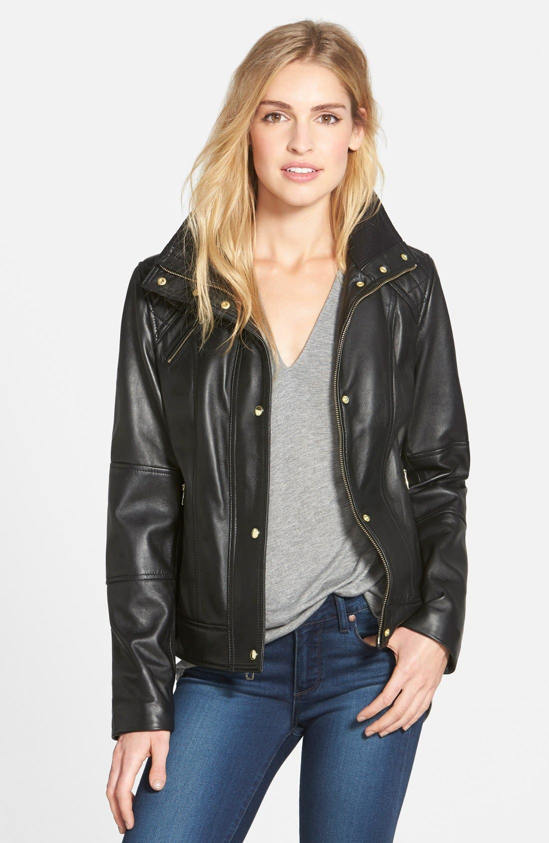 Main Image - Cole Haan Knit Collar Lambskin Leather Bomber Jacket