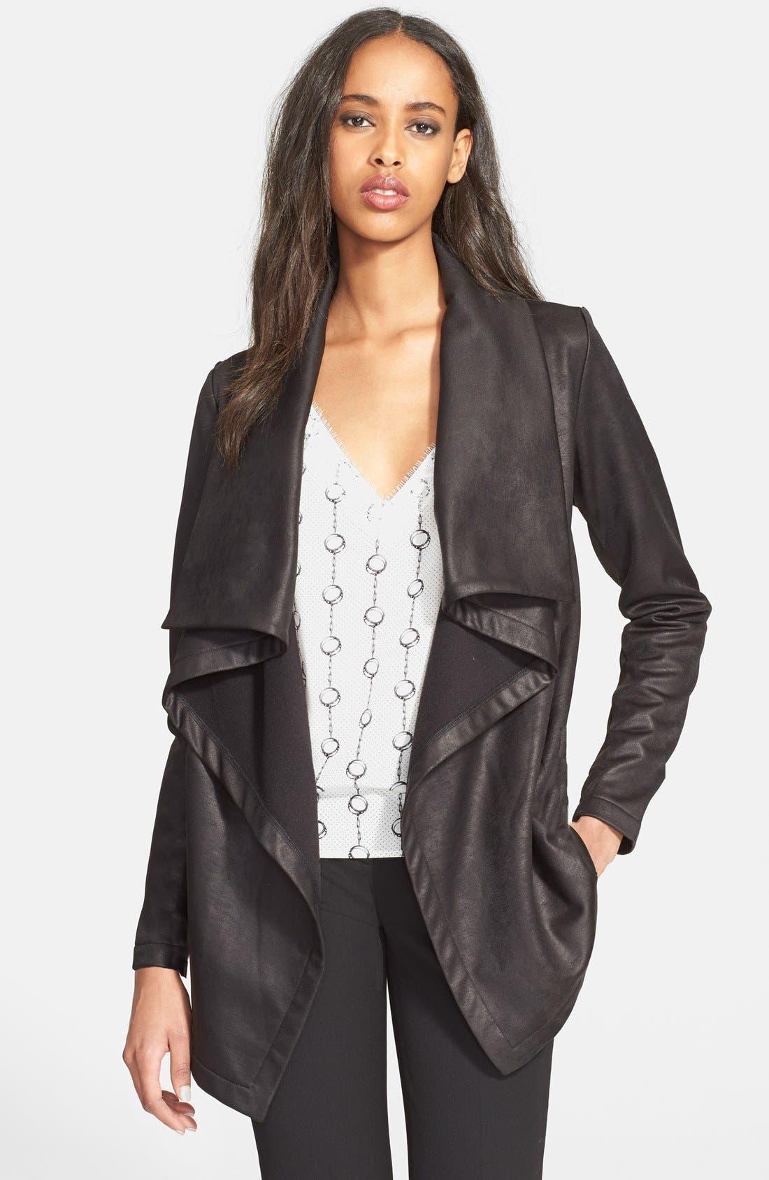 Main Image - The Kooples Drape Neck Coated Knit Jacket