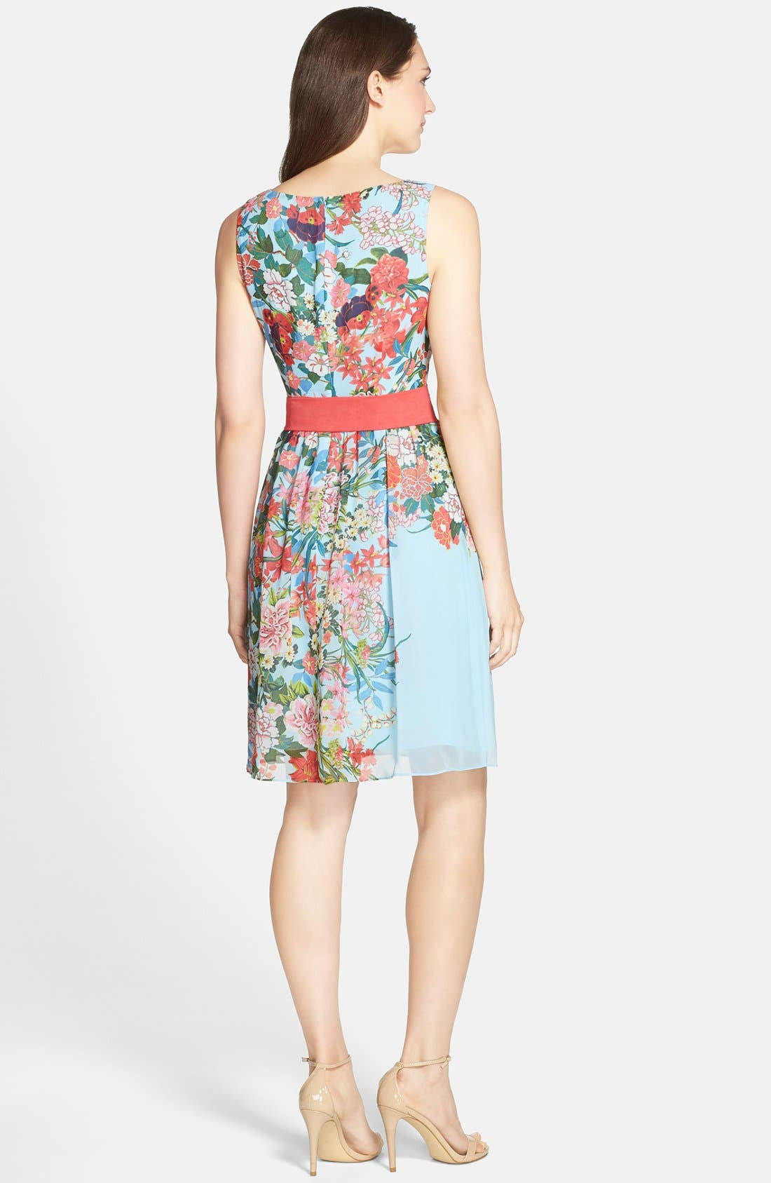 Alternate Image 2  - Adrianna Papell Floral Print Chiffon Fit & Flare Dress