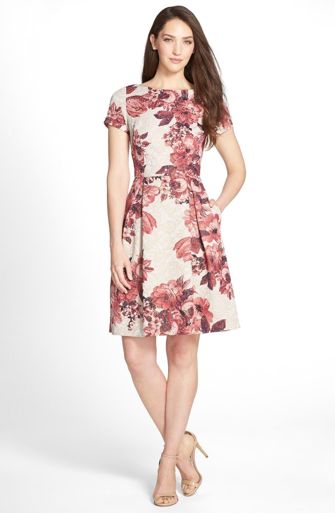 Alternate Image 3  - Adrianna Papell Floral Matelassé Fit & Flare Dress (Regular & Petite)