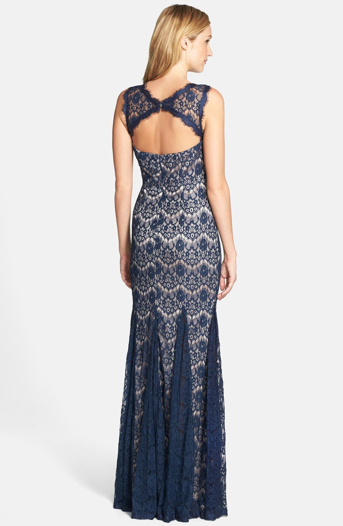 Alternate Image 2  - Betsy & Adam Lace Mermaid Gown