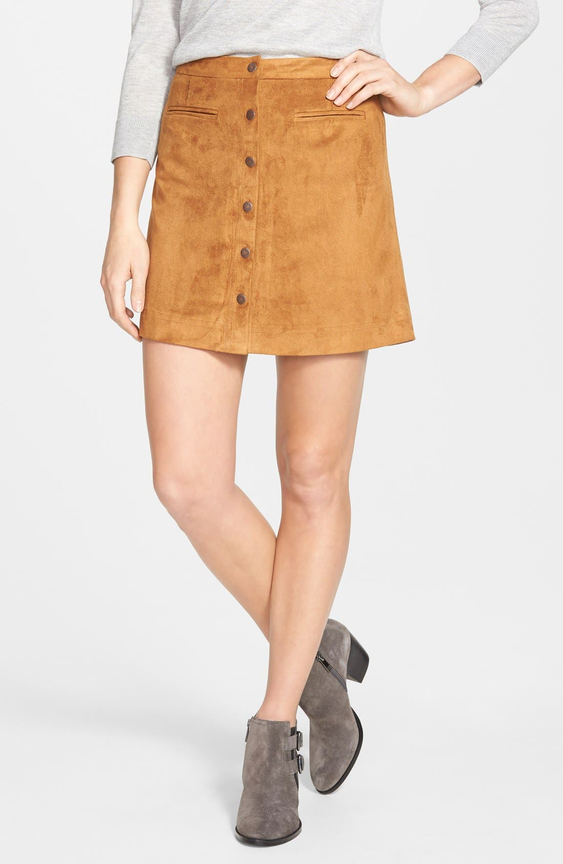 Main Image - Two by Vince Camuto Faux Suede A-Line Miniskirt