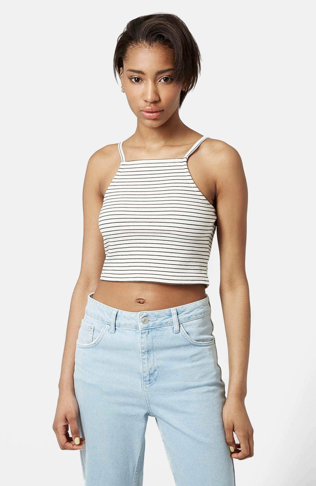 Alternate Image 1 Selected - Topshop Square Neck Stripe Crop Top (Petite)