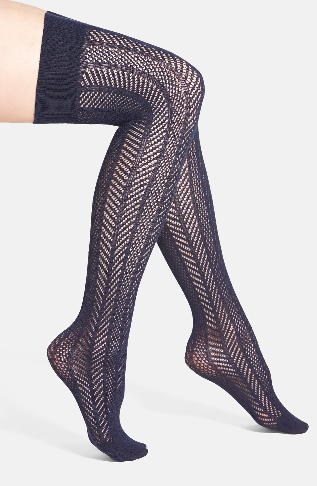 Alternate Image 1 Selected - Vince Camuto Openwork Knit Thigh High Socks (Online Only)