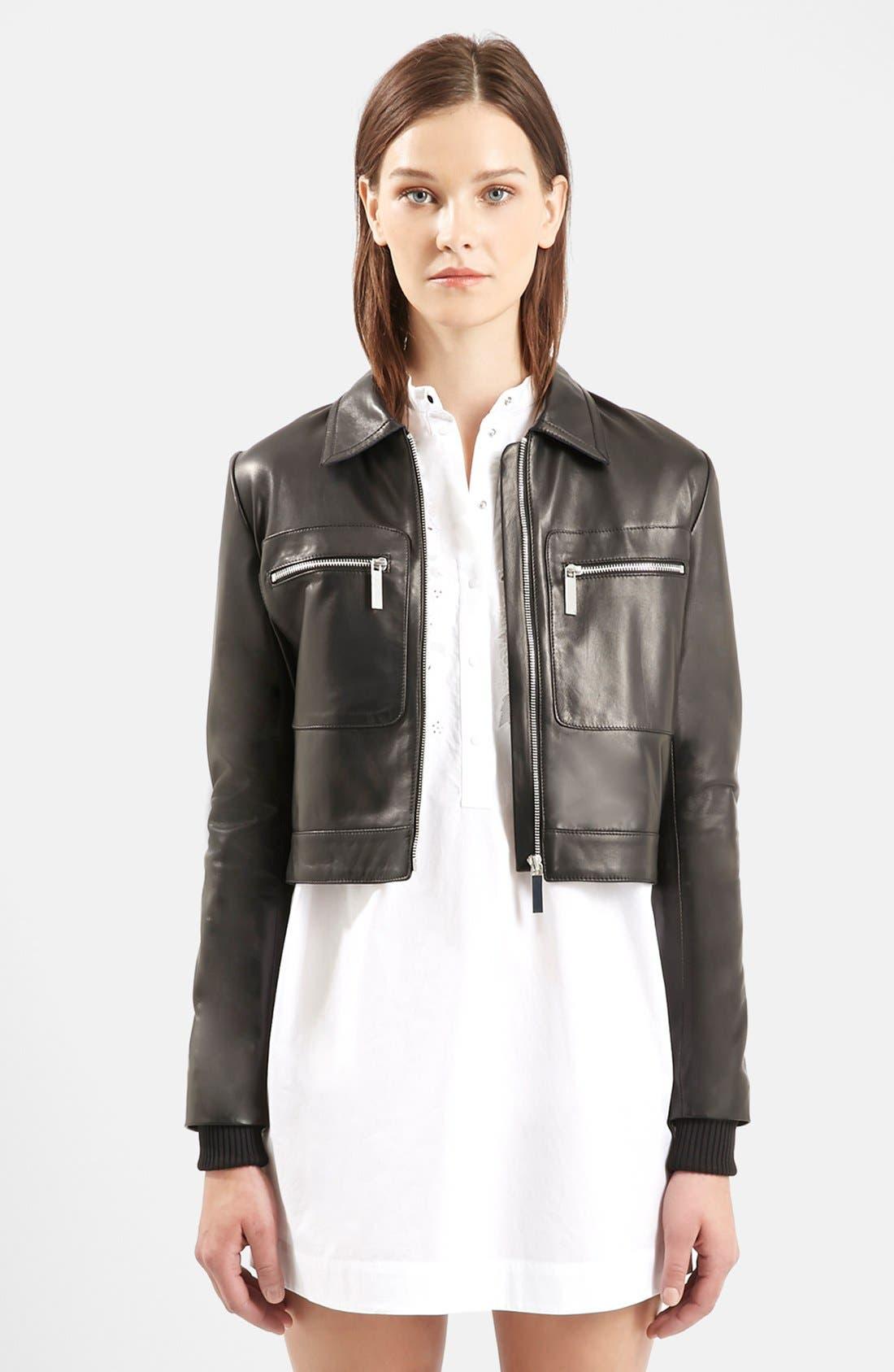 Main Image - Topshop Unique 'Mason' Crop Leather Bomber Jacket
