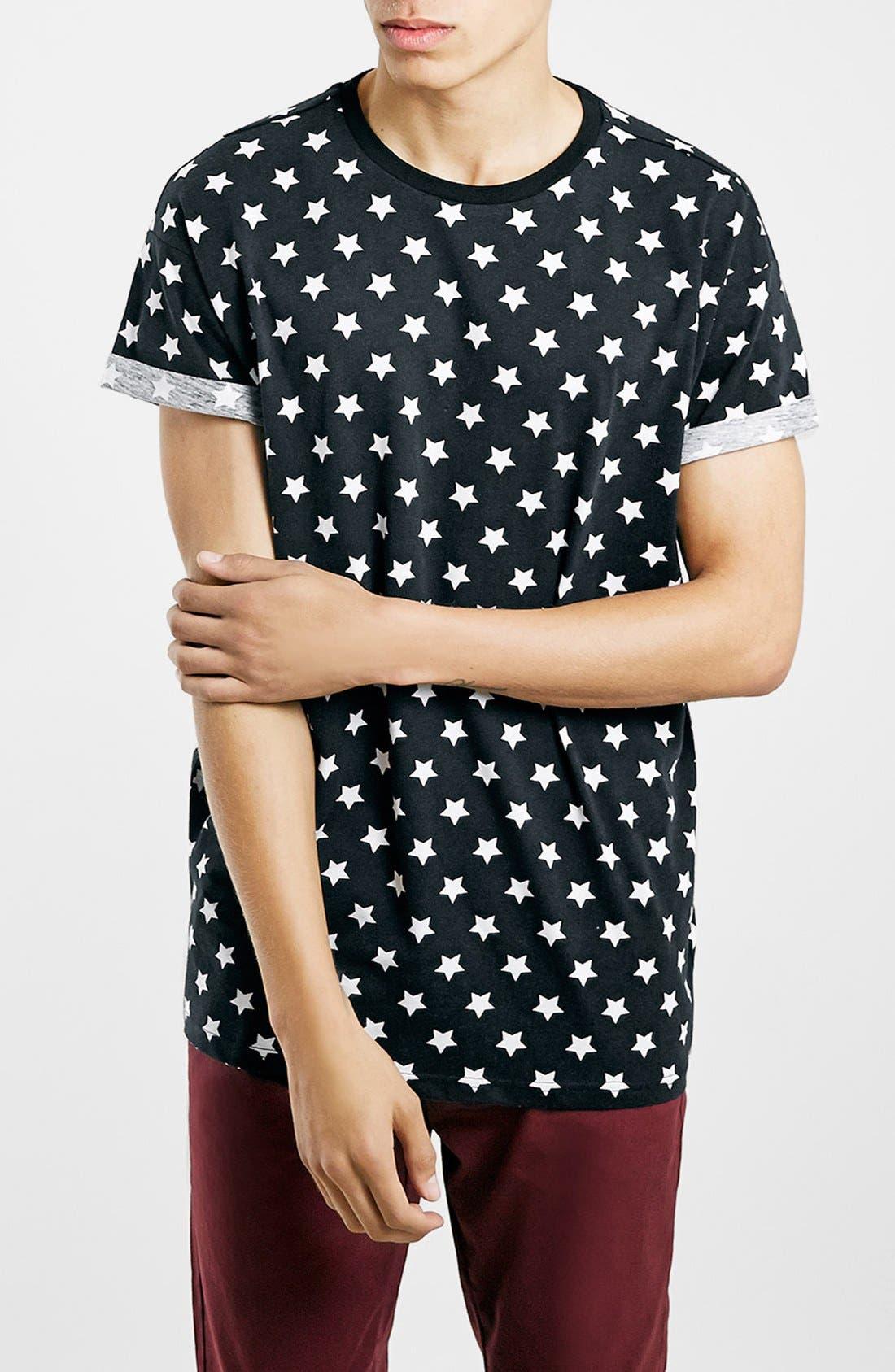 Alternate Image 1 Selected - Topman Star Print Roller T-Shirt