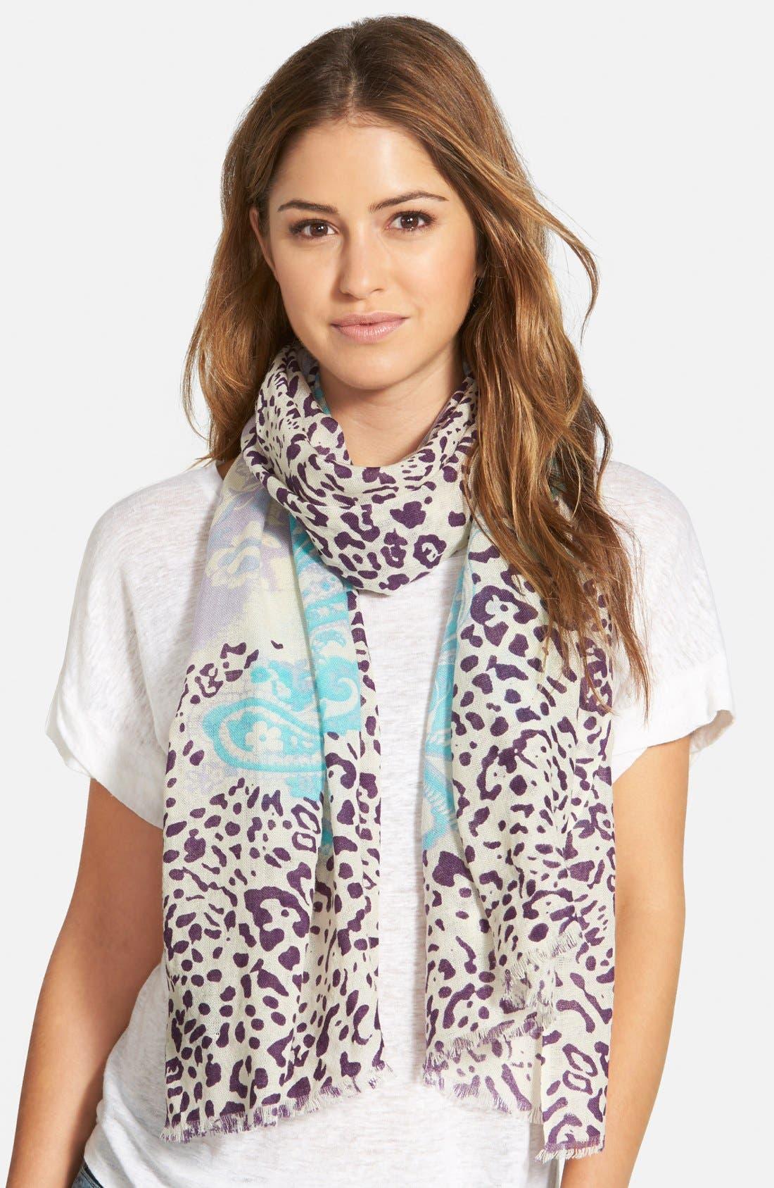 Main Image - La Fiorentina Mixed Print Wool Scarf