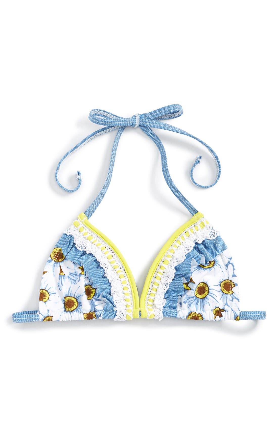 Alternate Image 1 Selected - California Kisses 'Wild Flower' Bikini Top (Big Girls)
