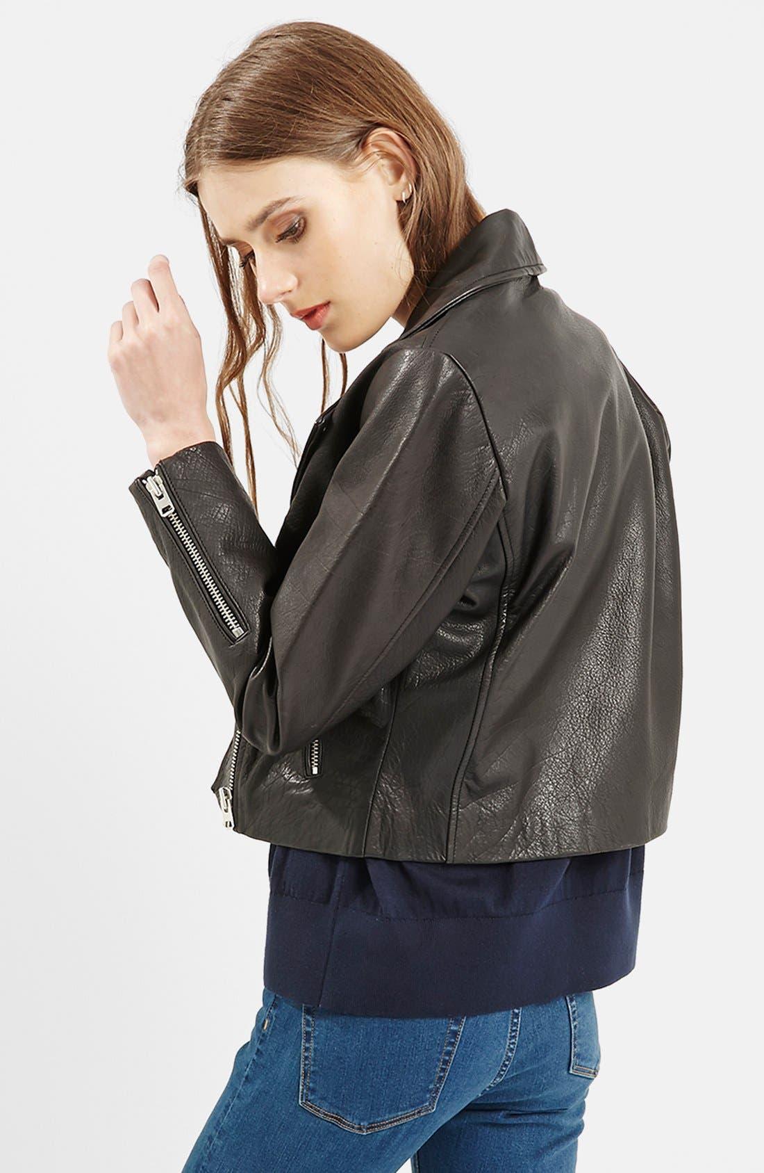 Alternate Image 3  - Topshop Leather Biker Jacket