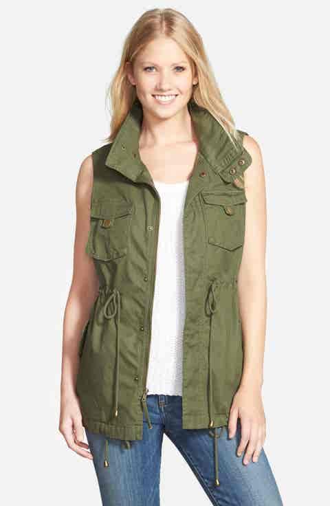 Pleione Cotton Twill Military Vest (Regular   Petite)