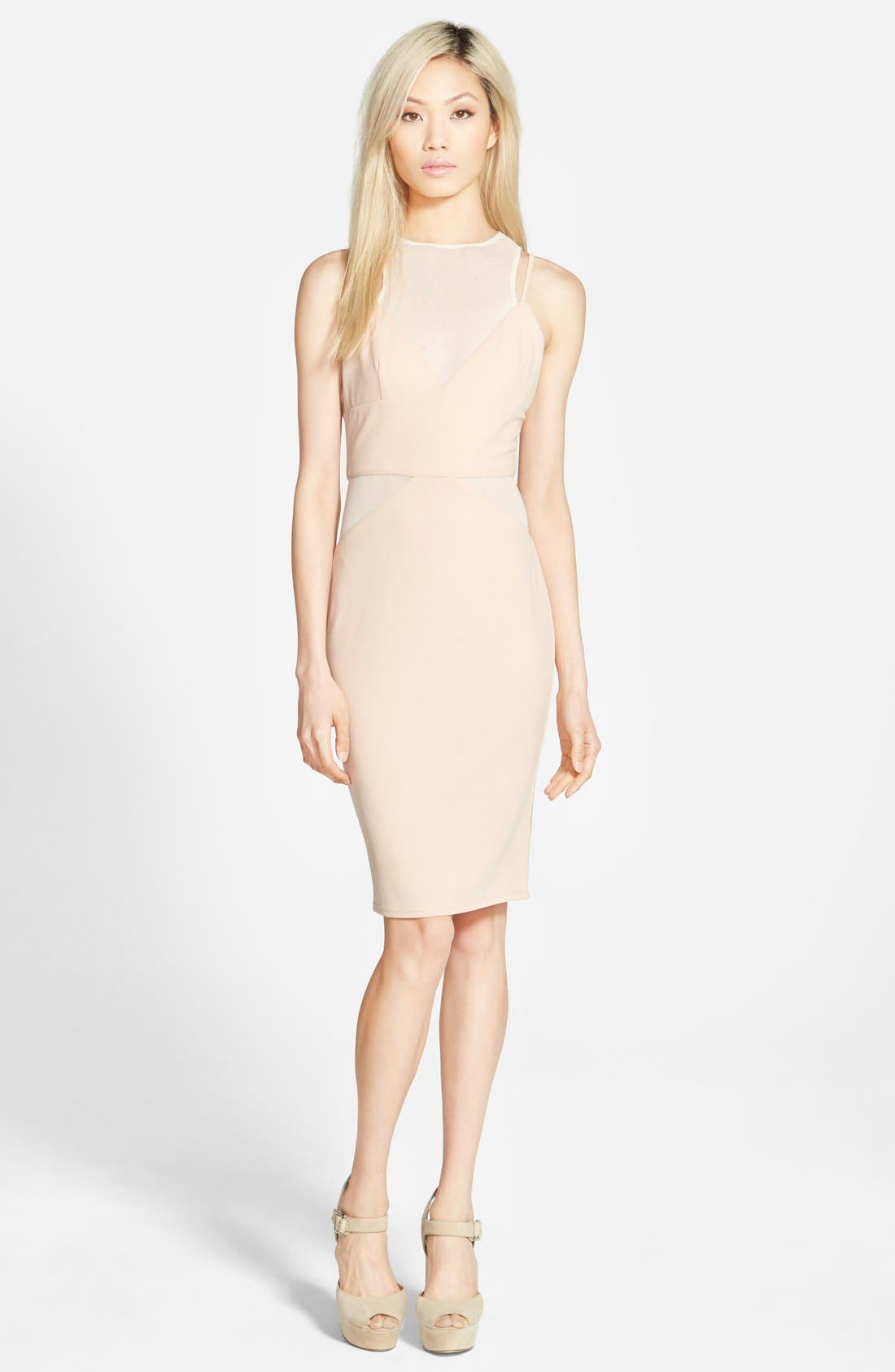 Alternate Image 1 Selected - Missguided Strappy Panel Midi Dress