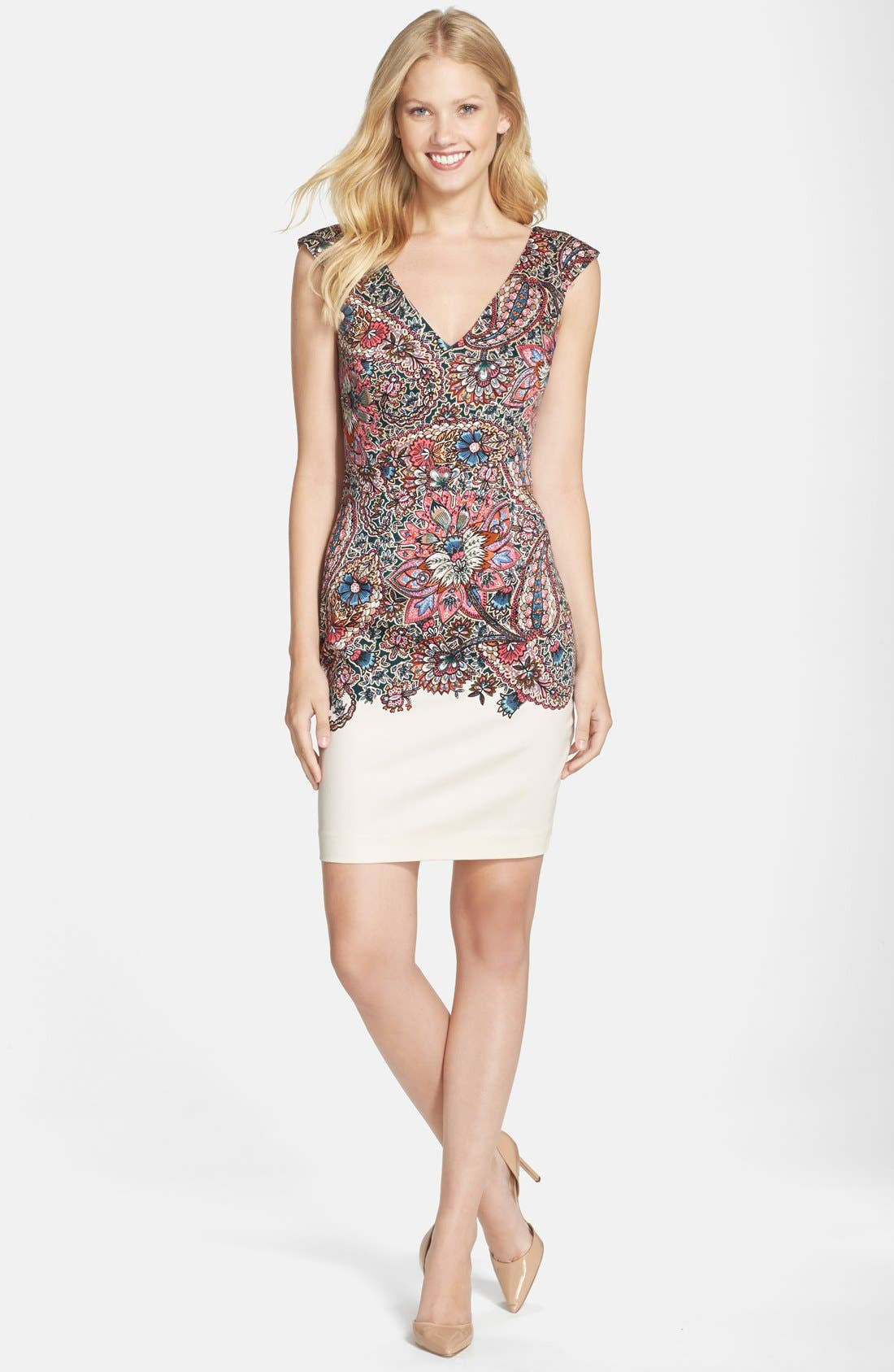 Alternate Image 3  - French Connection Placed Print Stretch Cotton Sheath Dress
