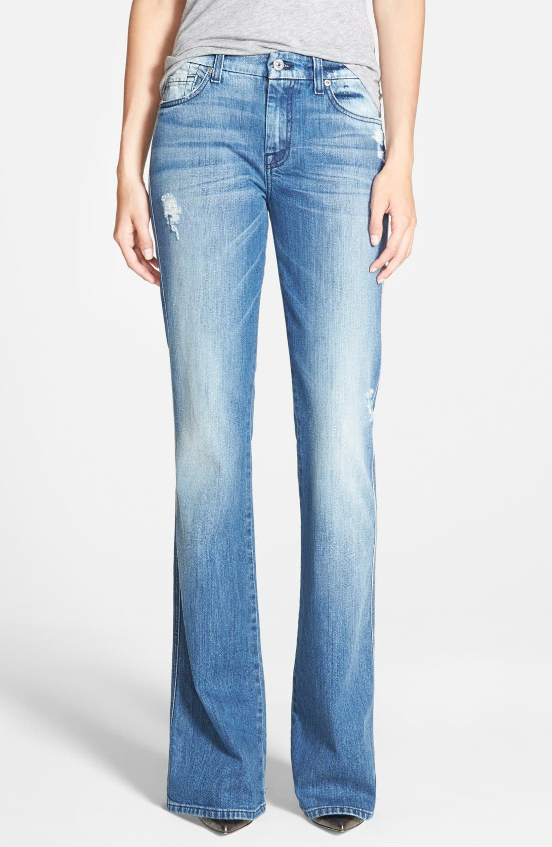 Alternate Image 1 Selected - 7 For All Mankind® 'A-Pocket' Distressed Bootcut Jeans (Red Cast Heritage)