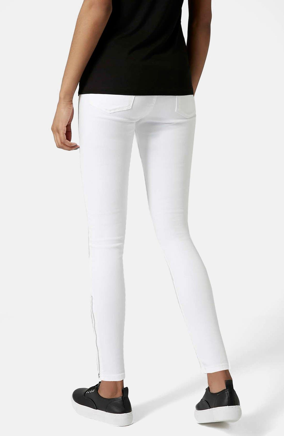 Alternate Image 3  - Topshop Moto 'Jamie' Ankle Zip Jeans (White) (Regular & Short)