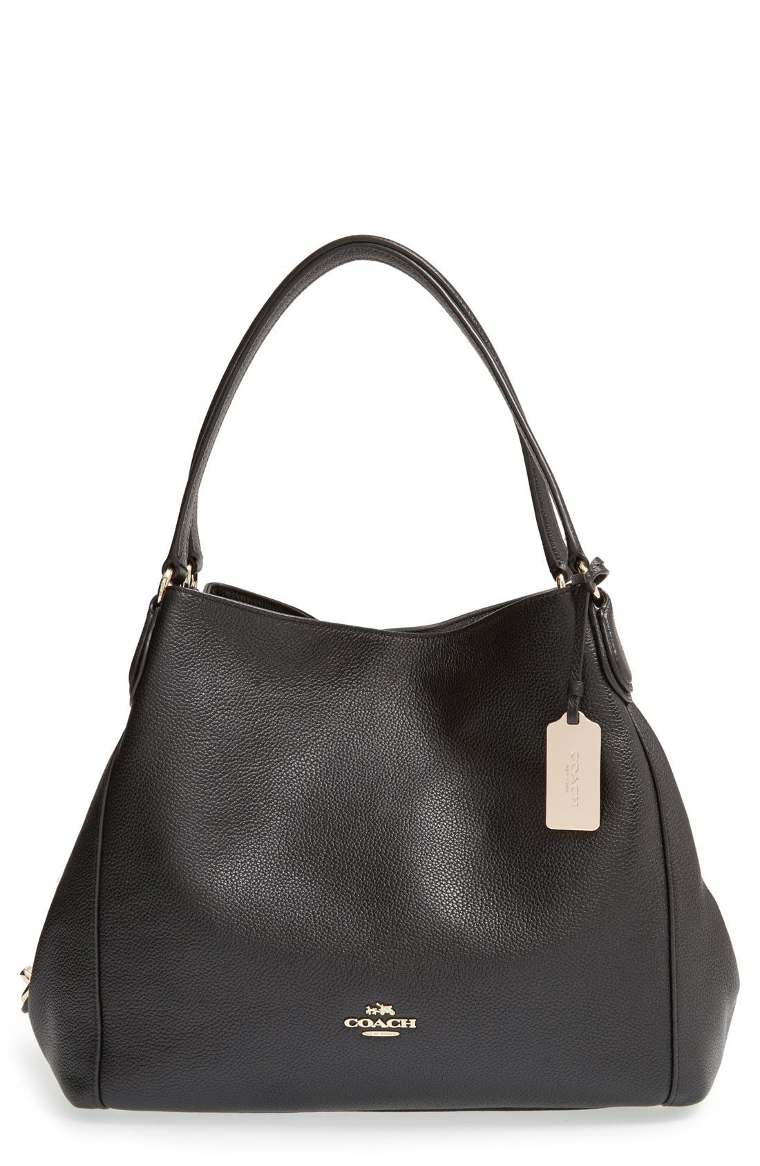 Alternate Image 1 Selected - Coach 'Edie' Pebbled Leather Shoulder Bag