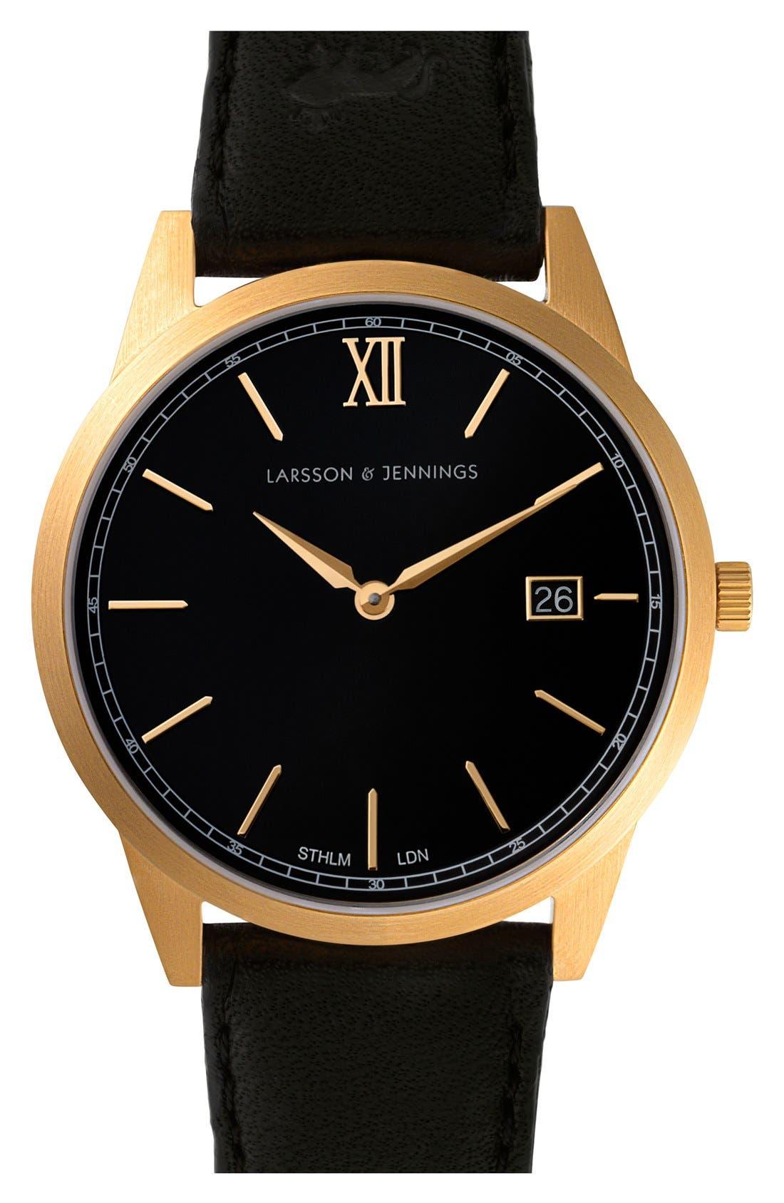 Alternate Image 1 Selected - Larsson & Jennings 'Saxon' Leather Strap Watch, 39mm