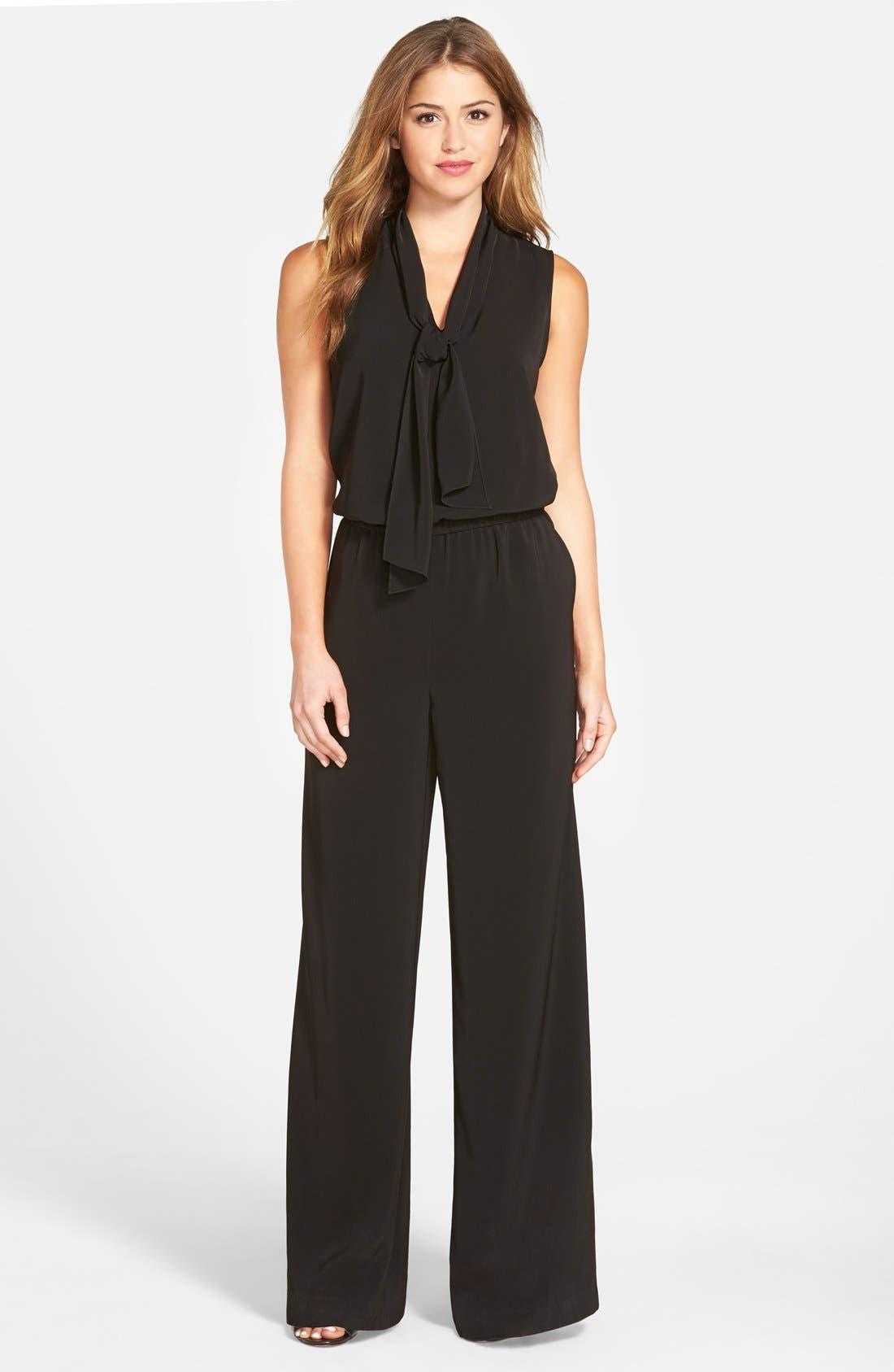 Main Image - Halogen® Tie Neck Jumpsuit (Regular & Petite)