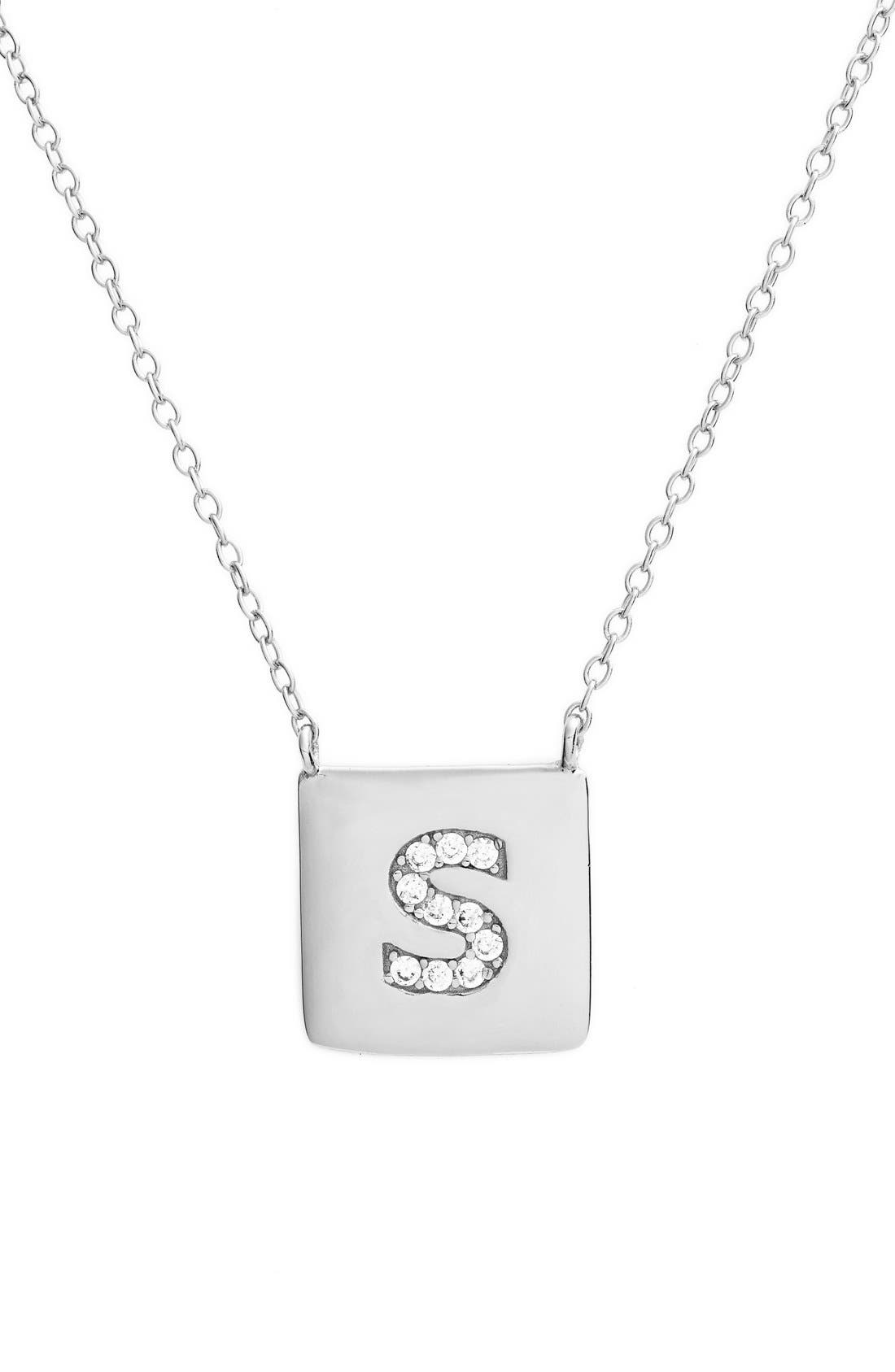 Main Image - Argento Vivo Cubic Zirconia Initial Pendant Necklace (Nordstrom Online Exclusive)