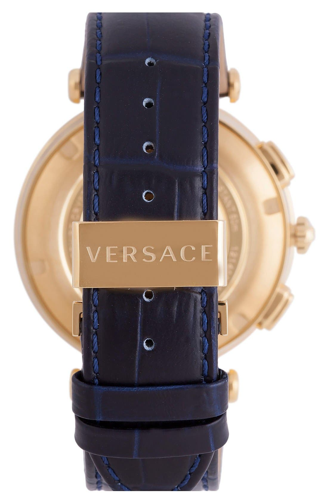 Alternate Image 2  - Versace 'V-Race GMT' Round Leather Strap Watch, 46mm