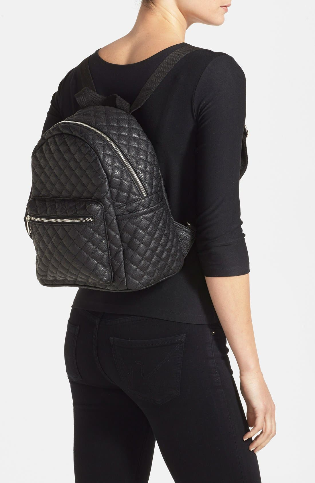 Alternate Image 2  - Amici Accessories Faux Leather Quilted Backpack