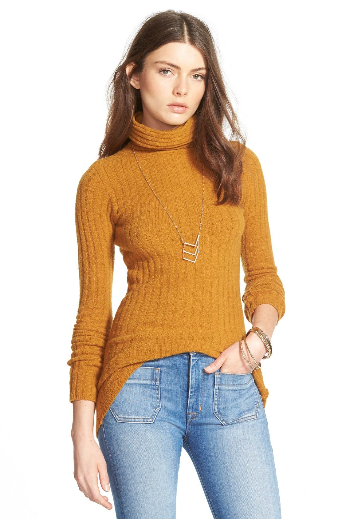 Alternate Image 1 Selected - Free People Ribbed Turtleneck Sweater