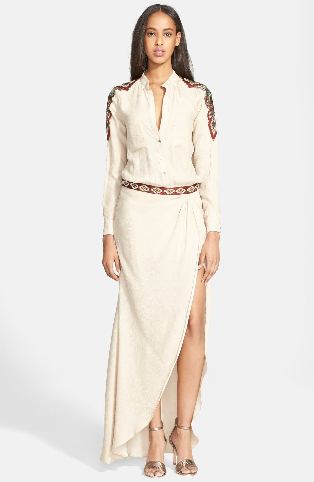 Alternate Image 1 Selected - Haute Hippie Embellished Silk Shirtdress Gown
