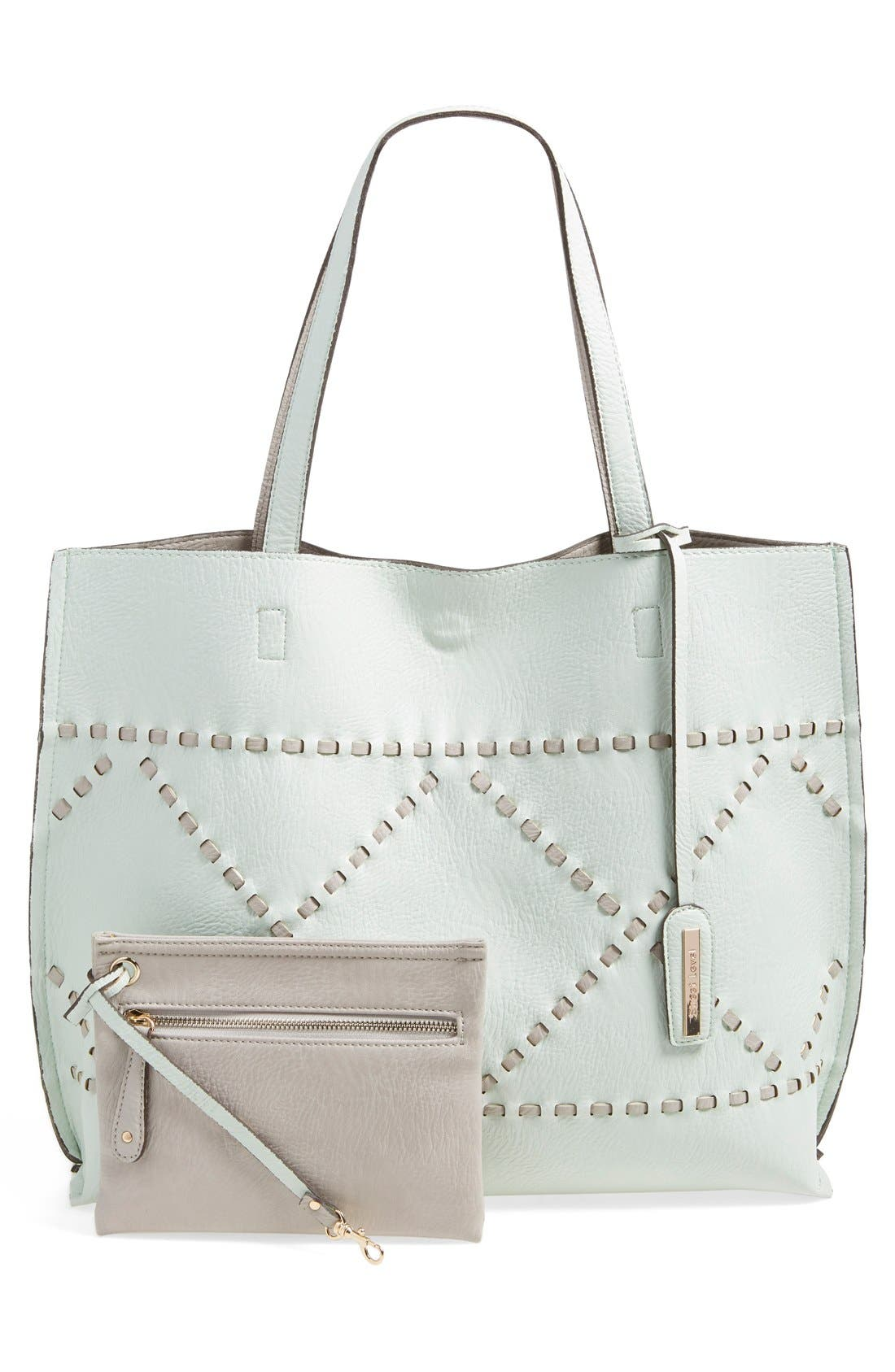 Main Image - Street Level Reversible Woven Faux Leather Tote