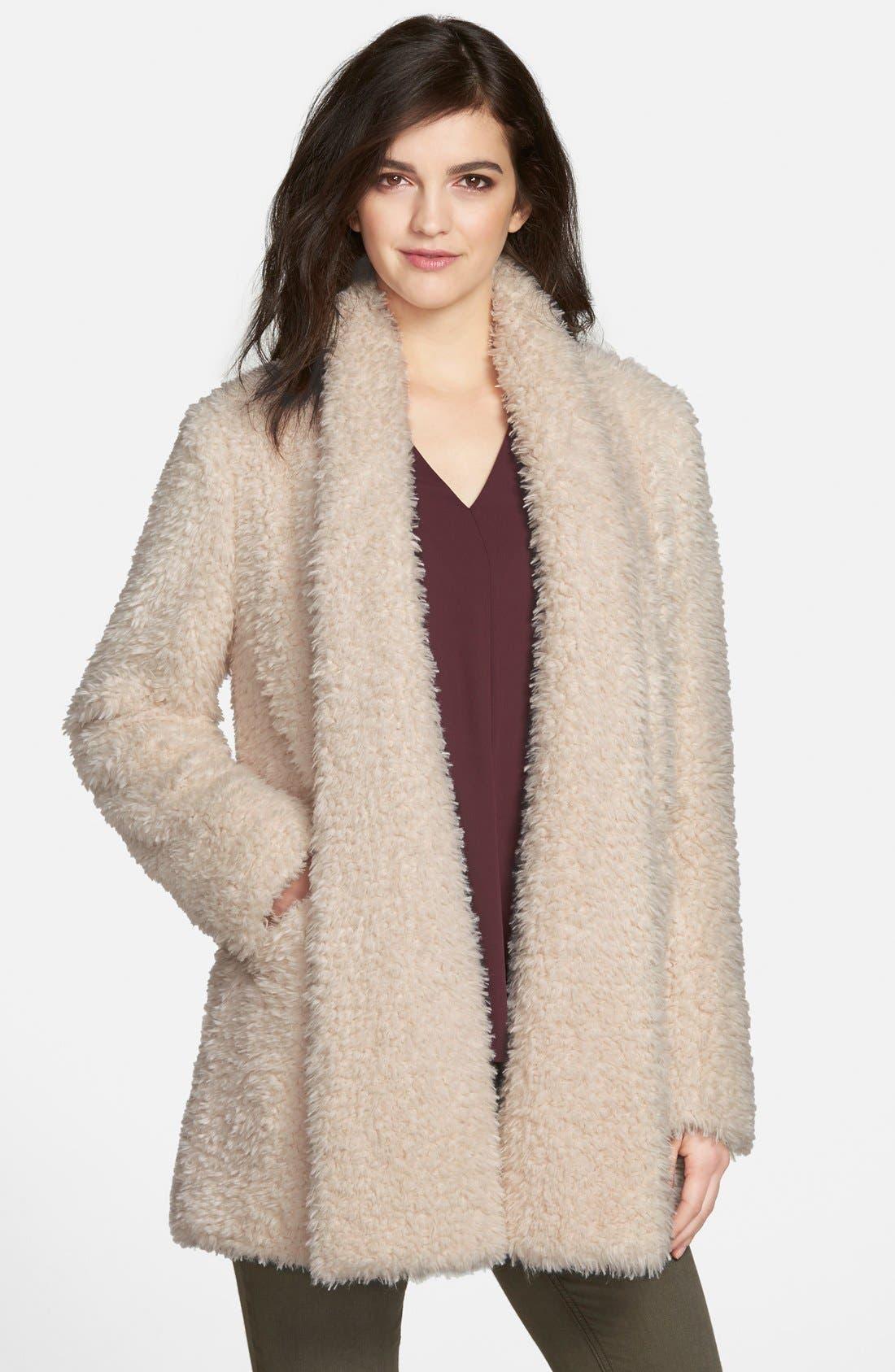 Kenneth Cole New York 'Teddy Bear' Faux Fur Clutch Coat