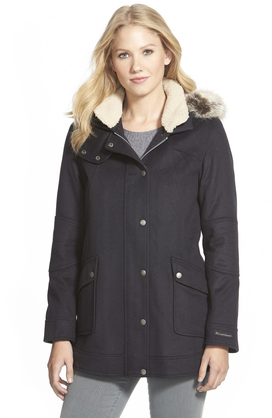 Alternate Image 1 Selected - Barbour 'Carston' Faux Fur Trim Hooded Wool Blend Jacket