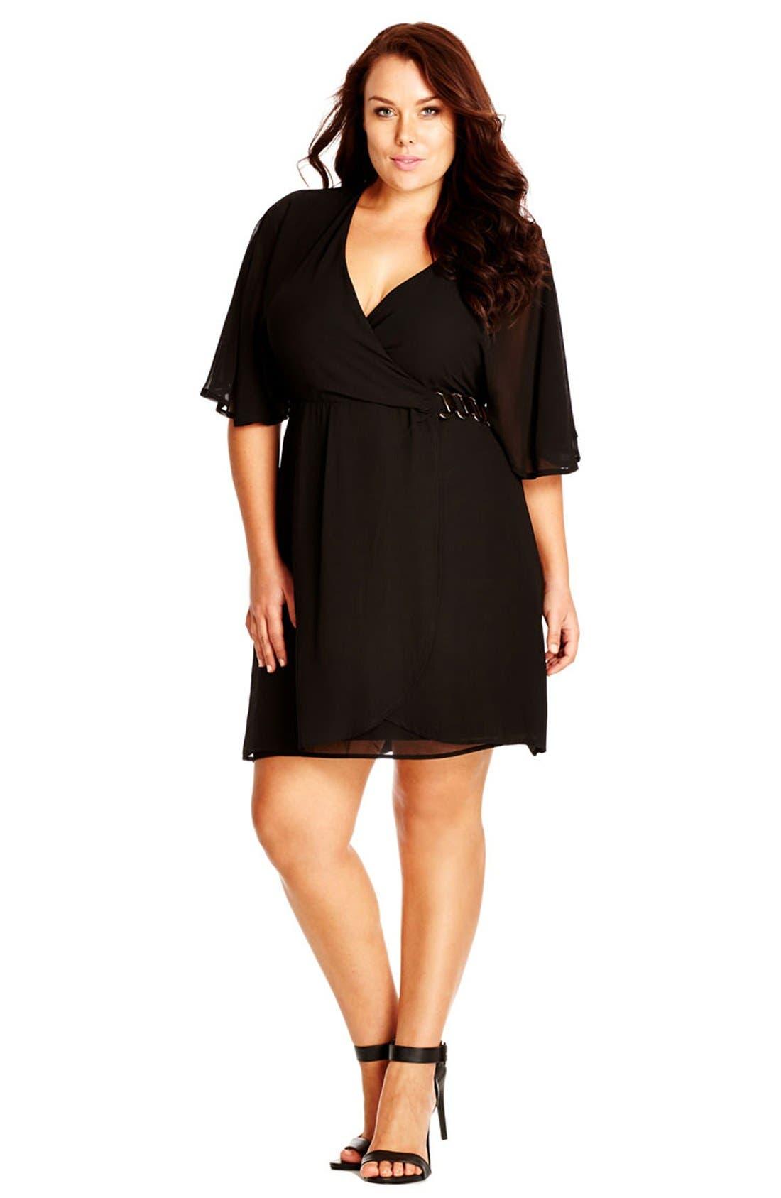Main Image - City Chic 'Class' Chiffon Wrap Dress (Plus Size)
