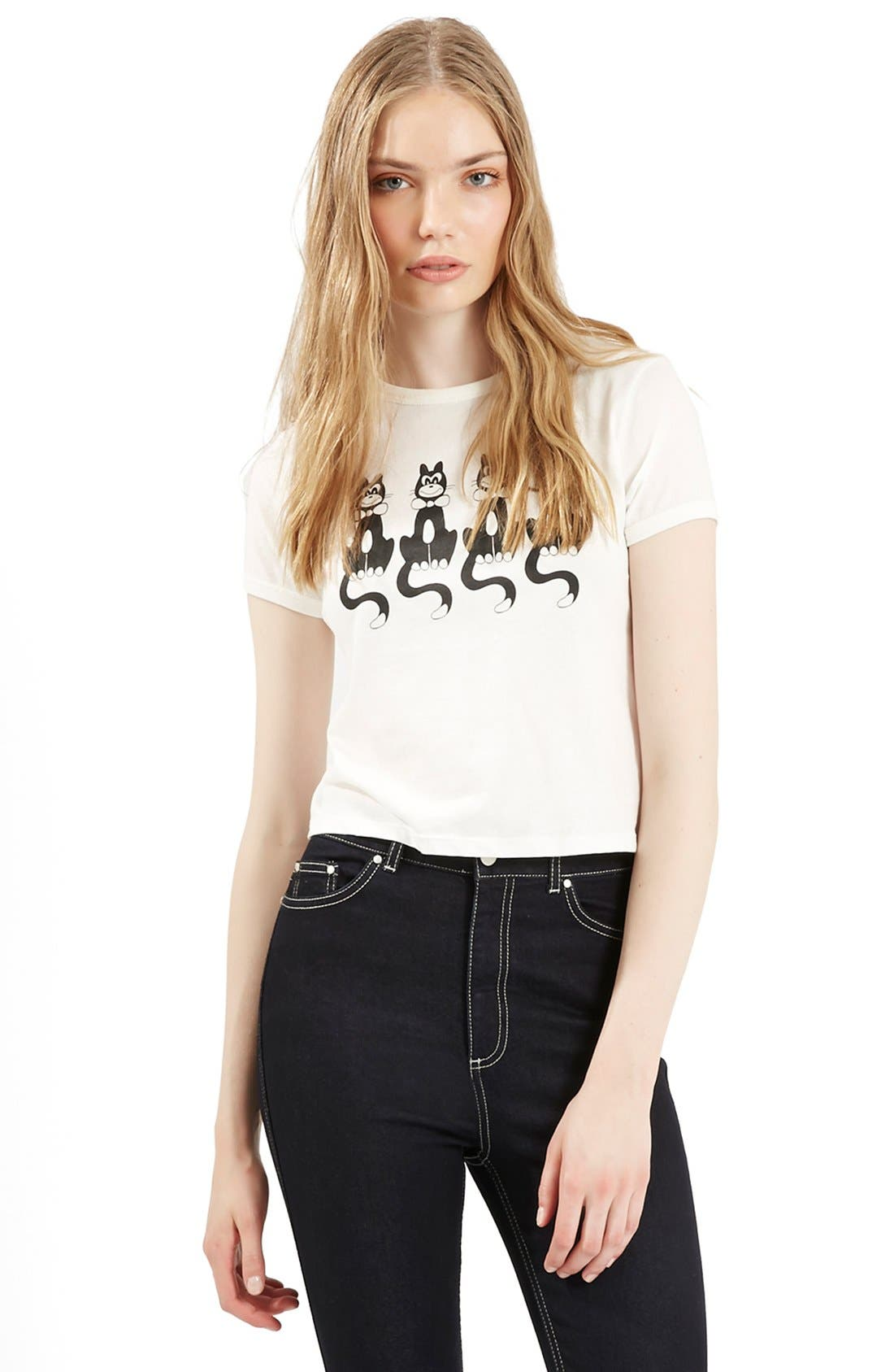 Alternate Image 1 Selected - Topshop Archive Collection Cat Print Crewneck Tee