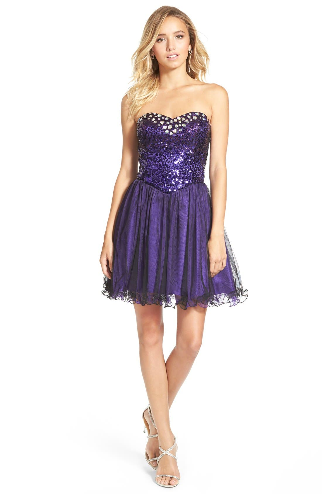 Alternate Image 1 Selected - Steppin Out Sequin Bodice Strapless Skater Dress