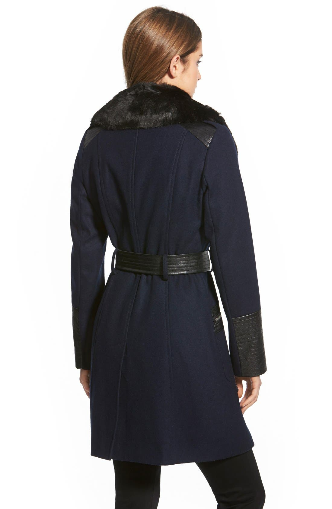 Alternate Image 2  - Via Spiga Faux Leather & Faux Fur Trim Belted Wool Blend Coat