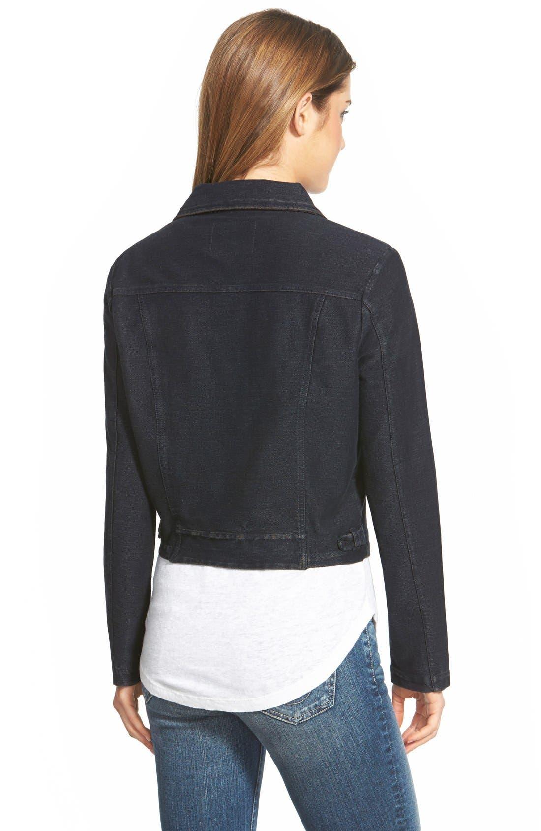 Alternate Image 2  - NIC+ZOE Knit Denim Moto Jacket