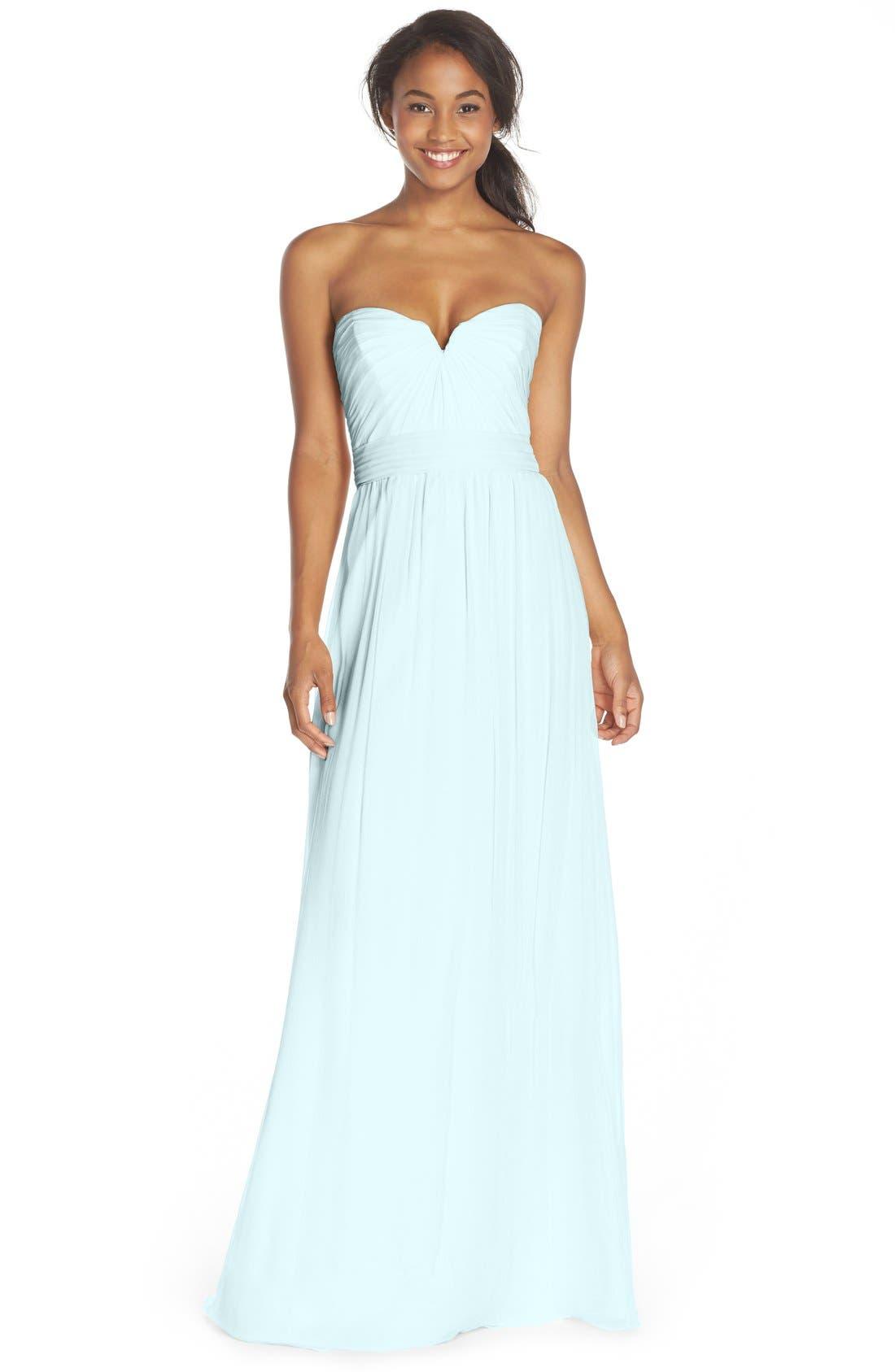Main Image - Amsale Strapless Silk Chiffon Gown