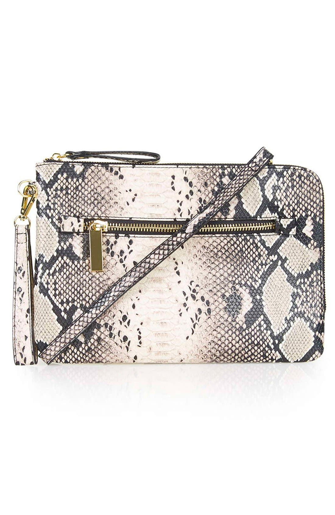 Main Image - Topshop Snake Print Faux Leather Clutch